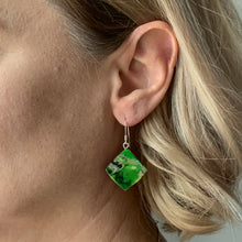 Load image into Gallery viewer, Green Dimond Dangle Earrings with Sterling Silver 925 fish hook wire