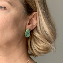 Load image into Gallery viewer, Green Teardrop Studs Earrings with Sterling Silver 925 findings