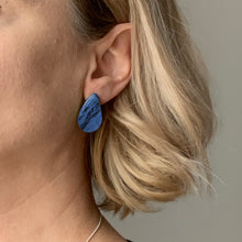 Load image into Gallery viewer, Navy Blue Teardrop Studs Earrings with Sterling Silver 925 findings
