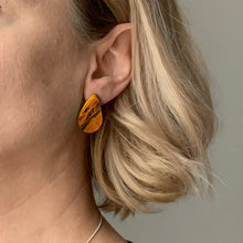 Load image into Gallery viewer, Orange Teardrop Studs Earrings with Sterling Silver 925 findings