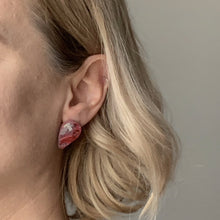 Load image into Gallery viewer, Red Revers Teardrop Studs Earrings with Sterling Silver 925 findings