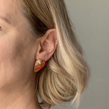 Load image into Gallery viewer, Orange Revers Teardrop Studs Earrings with Sterling Silver 925 findings