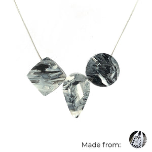 Three Elements Necklace with 925 Sterling Silver Snake Chain