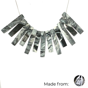 Bib Bar Necklace with 925 Sterling Silver Snake Chain