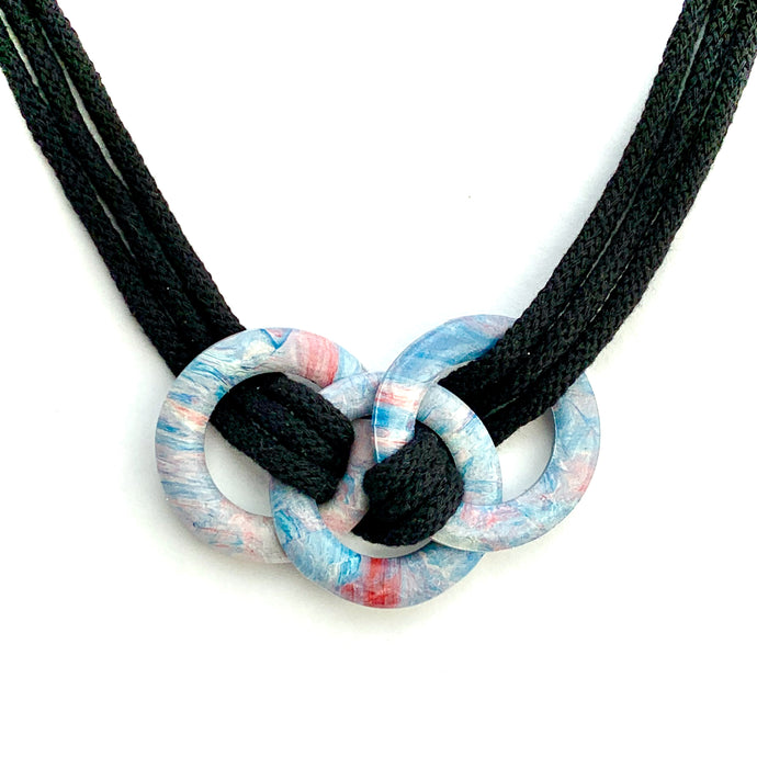 Three Large Rings Necklace with Recycled Cotton Cord