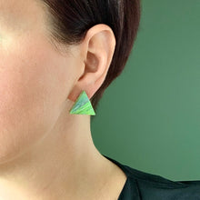 Load image into Gallery viewer, Green Pyramid Statement  Earrings with 925 Sterling Silver Findings