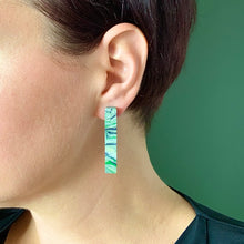Load image into Gallery viewer, Green Rectangle Statement  Earrings with 925 Sterling Silver Findings