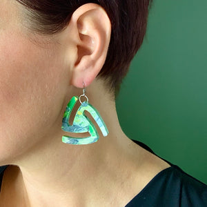 Green Twist Statement  Earrings with 925 Sterling Silver Findings