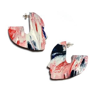 Face It 5cm Statement earrings with 925 Sterling Silver Pins