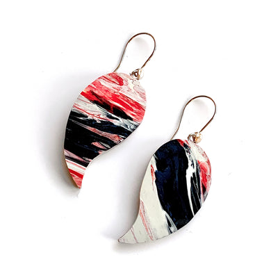 Water & Fire Statement  Earrings with 925 Sterling Silver Hooks