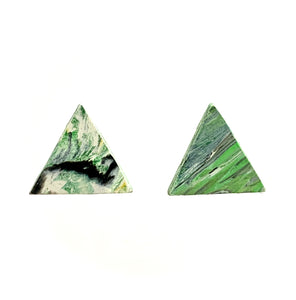 Green Pyramid Statement  Earrings with 925 Sterling Silver Findings