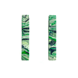 Green Rectangle Statement  Earrings with 925 Sterling Silver Findings