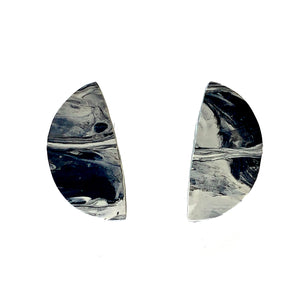 Black and White Half Moon Statement  Earrings with 925 Sterling Silver Findings