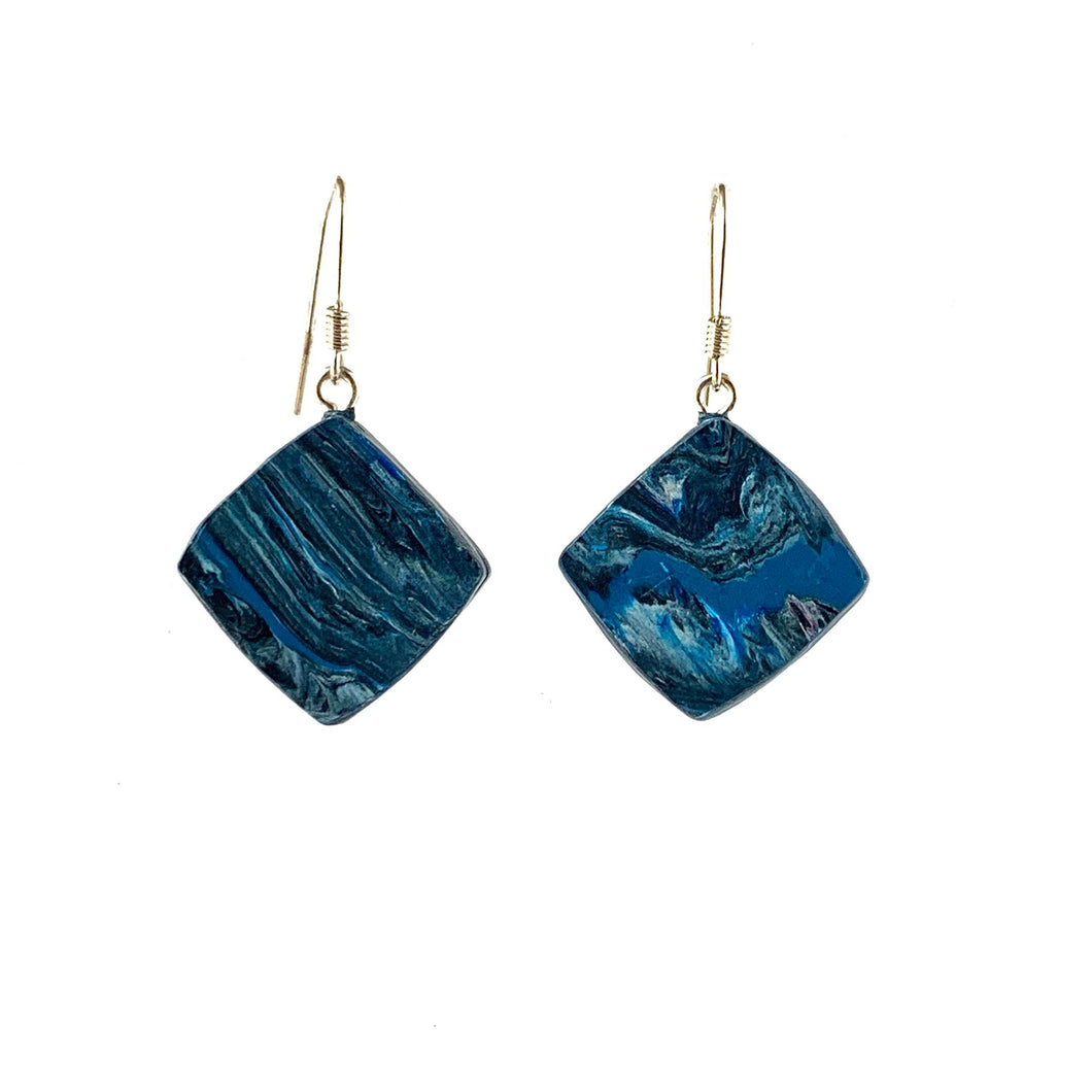 Navy Blue Dimond Dangle Earrings with Sterling Silver 925 fish hook wire