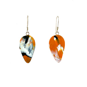 Orange Revers Teardrop Dangle Earrings with Sterling Silver 925 fish hook wire