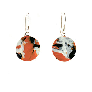 Orange Circle Dangle Earrings with Sterling Silver 925 fish hook wire