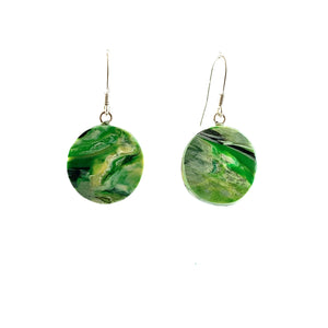 Green Circle Dangle Earrings with Sterling Silver 925 fish hook wire