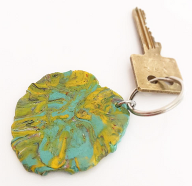 Key ring made of recycled plastic bags ban plastic bag