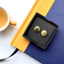 Load image into Gallery viewer, Yellow & Navy Blue 12 mm Round Studs