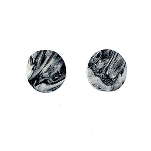 Black & White Circle Studs Earrings with Sterling Silver 925 findings