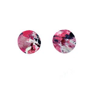 Pink Circle Studs Earrings with Sterling Silver 925 findings