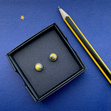 Load image into Gallery viewer, Yellow & Navy Blue 6 mm Round Studs