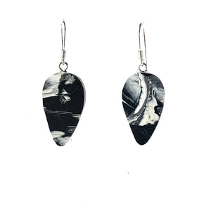 Black & White Revers Teardrop Dangle Earrings with Sterling Silver 925 fish hook wire