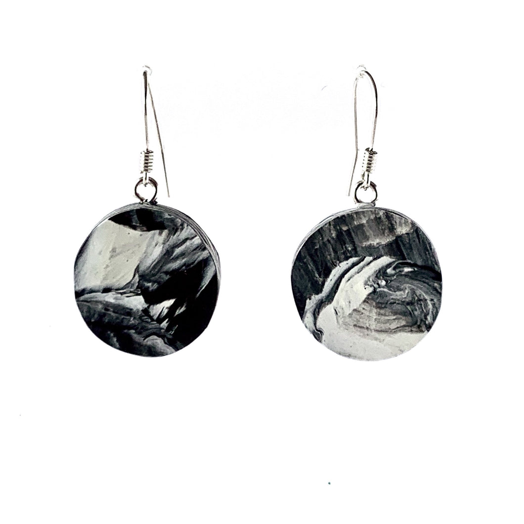 Black & White Circle Dangle Earrings with Sterling Silver 925 fish hook wire