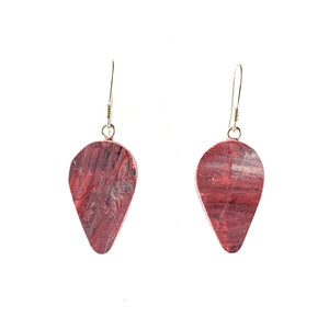 Red Revers Teardrop Dangle Earrings with Sterling Silver 925 fish hook wire
