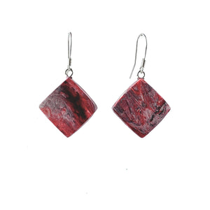 Red Dimond Dangle Earrings with Sterling Silver 925 fish hook wire