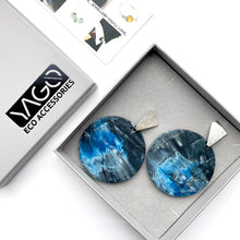 Load image into Gallery viewer, Blue and White Statement Earrings with Sterling Silver Posts