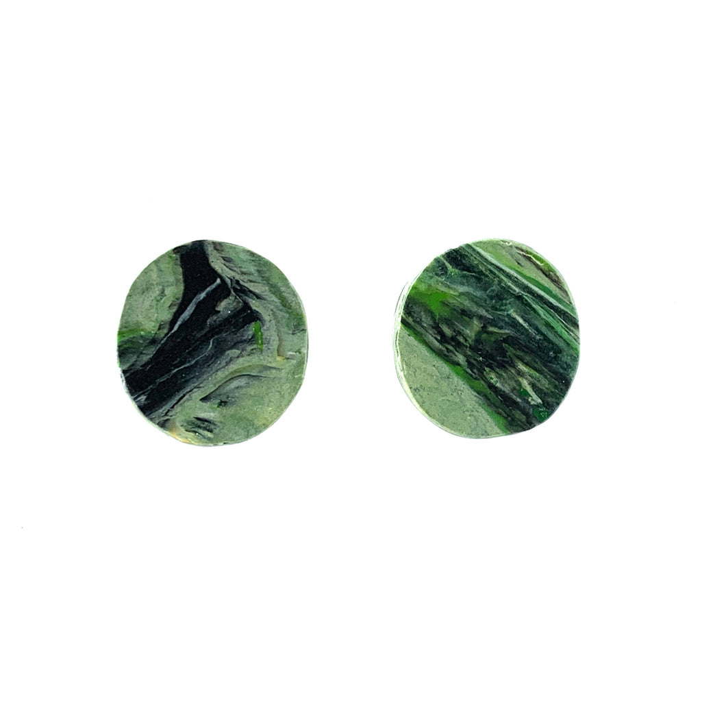 Green Circle Studs Earrings with Sterling Silver 925 findings