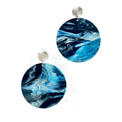 Blue and White Statement Earrings with Sterling Silver Posts