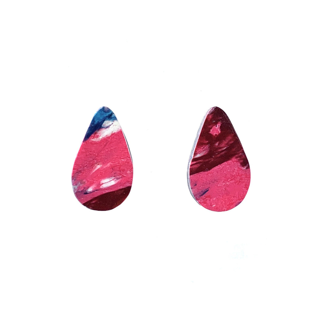 Pink Teardrop Studs Earrings with Sterling Silver 925 findings