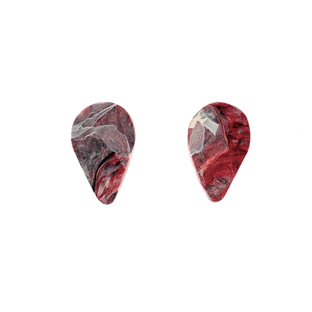 Red Revers Teardrop Studs Earrings with Sterling Silver 925 findings