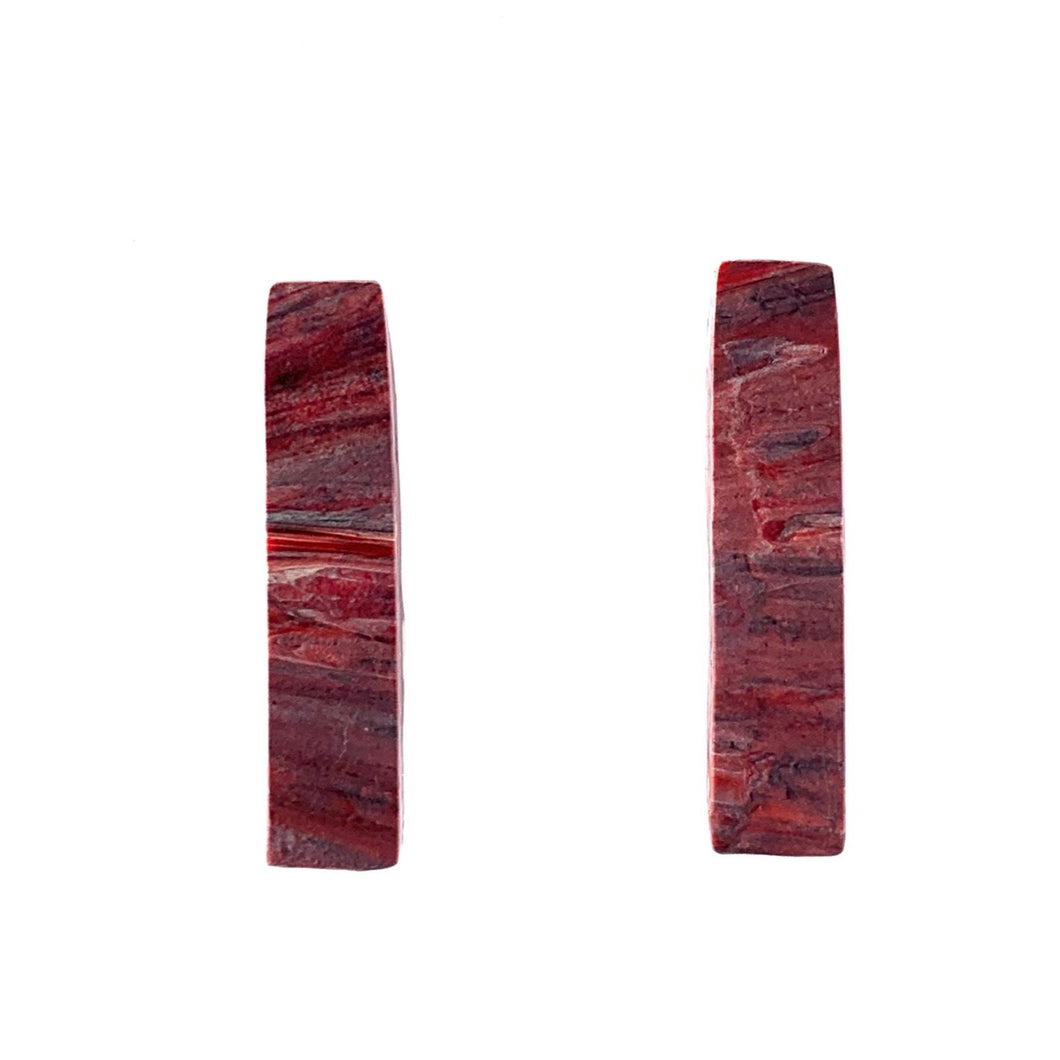 Red Rectangle Studs Earrings with Sterling Silver 925 findings