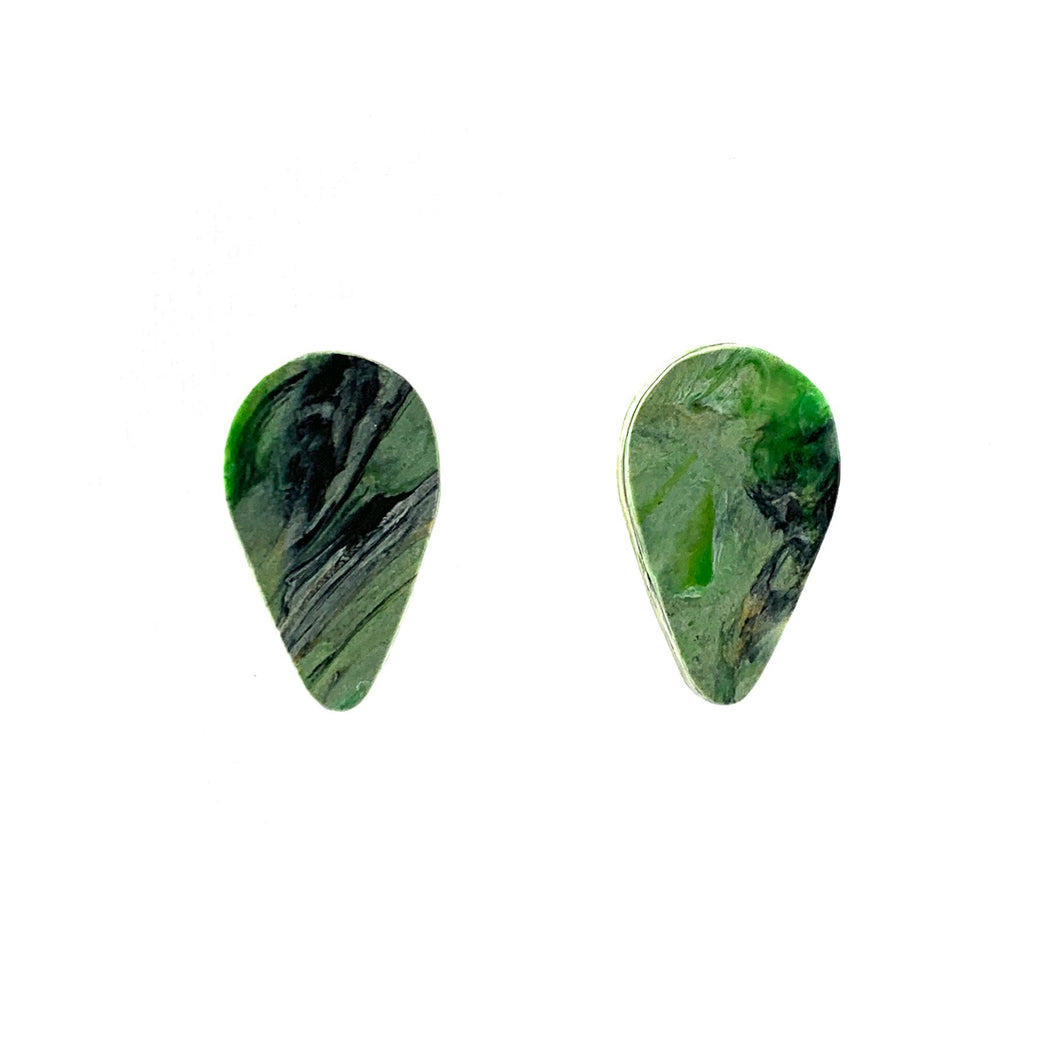 Green Revers Teardrop Studs Earrings with Sterling Silver 925 findings