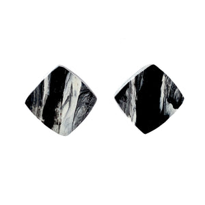 Black & White Square Studs Earrings with Sterling Silver 925 findings
