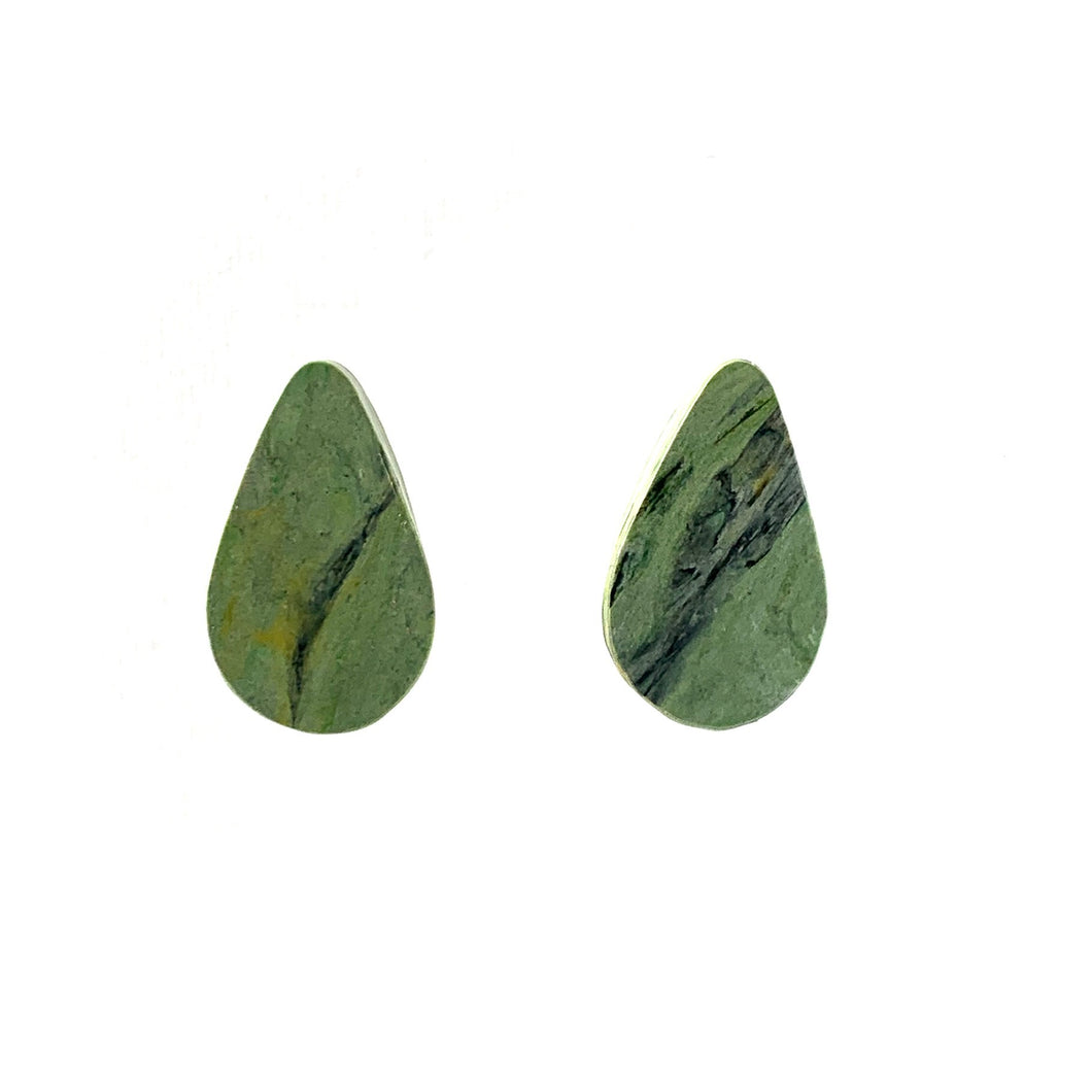 Green Teardrop Studs Earrings with Sterling Silver 925 findings