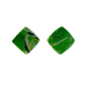 Green Square Studs Earrings with Sterling Silver 925 findings