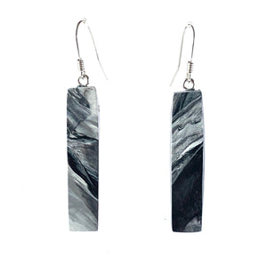 Black & White Bar Dangle Earrings with Sterling Silver 925 fish hook wire