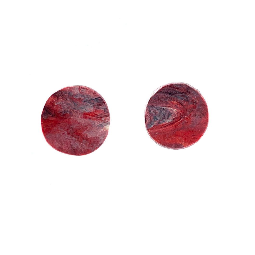 Red Circle Studs Earrings with Sterling Silver 925 findings