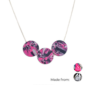 Three Circles Necklace with 925 Sterling Silver Snake Chain