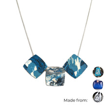 Load image into Gallery viewer, Three Squares Necklace with 925 Sterling Silver Snake Chain