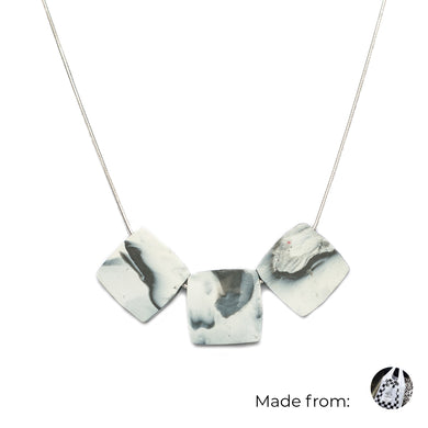 Three Squares Necklace with 925 Sterling Silver Snake Chain