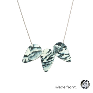 Three Teardrops Necklace with 925 Sterling Silver Snake Chain