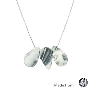 Three Teardrops Mix Necklace with 925 Sterling Silver Snake Chain