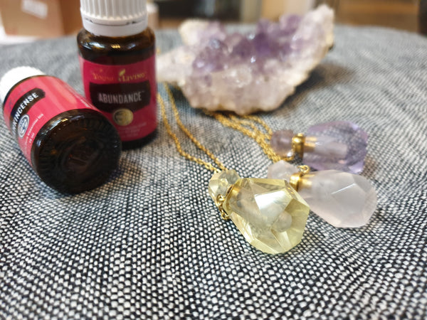 Gemstone essential oil diffuser/perfume bottle pendants