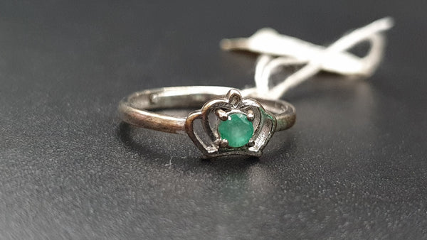 Emerald ring size 6 to 8 adjustable