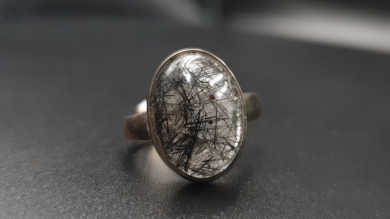 Tourmalinated quartz ring size 7.5